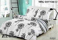 Сатиновое постельное белье евро ELWAY 5001 Черный цветок