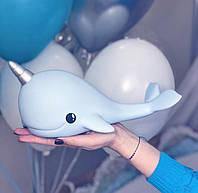 Детский светильник ночник-игрушка с таймером и 5 режимами подсветки Dhink Кит, голубой, фото 1