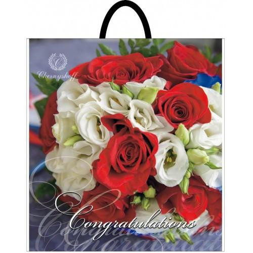Полиэтиленовый пакет с пластиковой ручкой (сумка) ''Цветы ассорти'' 400*420, 10 шт