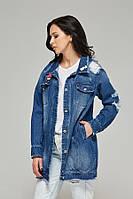 Женская джинсовая куртка–жакет Q12 (44–52р) синий
