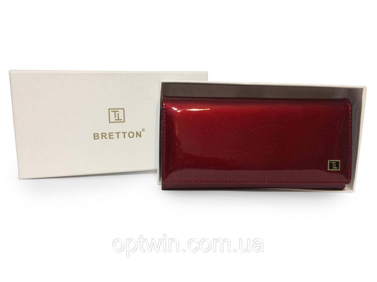 Женский кошелек кожа лаковый Bretton красный, фото 1