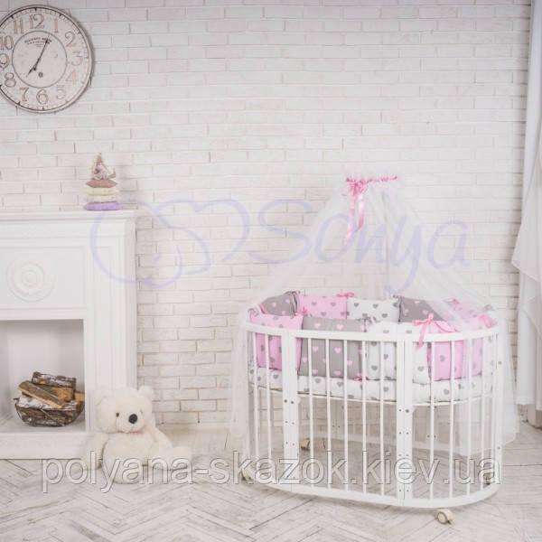 Комплект Baby Design Cеро-розовые сердца, фото 1