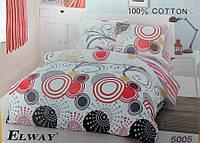Сатиновое постельное белье евро ELWAY 5005 Круги абстракция