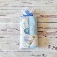 Набор пеленок Сердечки голубые, фото 1