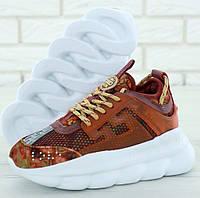Женские кроссовки Versace Chain Reaction 2 Chainz сетчатые кроссовки. Живое фото (Реплика ААА+), фото 1