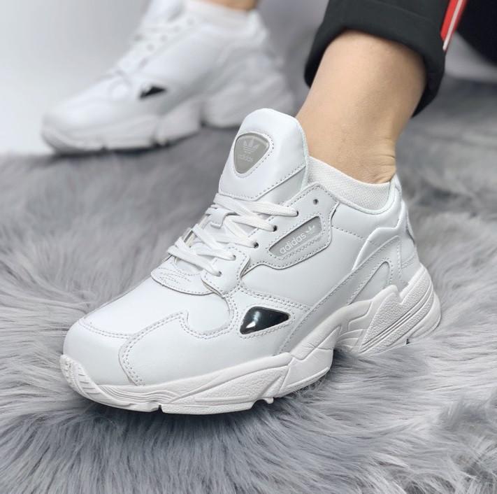 Женские кроссовки Adidas Falcon white leather. Живое фото (Реплика ААА+), фото 1