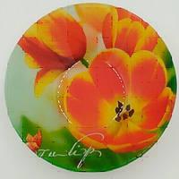 Миска стекл. 178мм круглая глубокая Волшебные тюльпаны