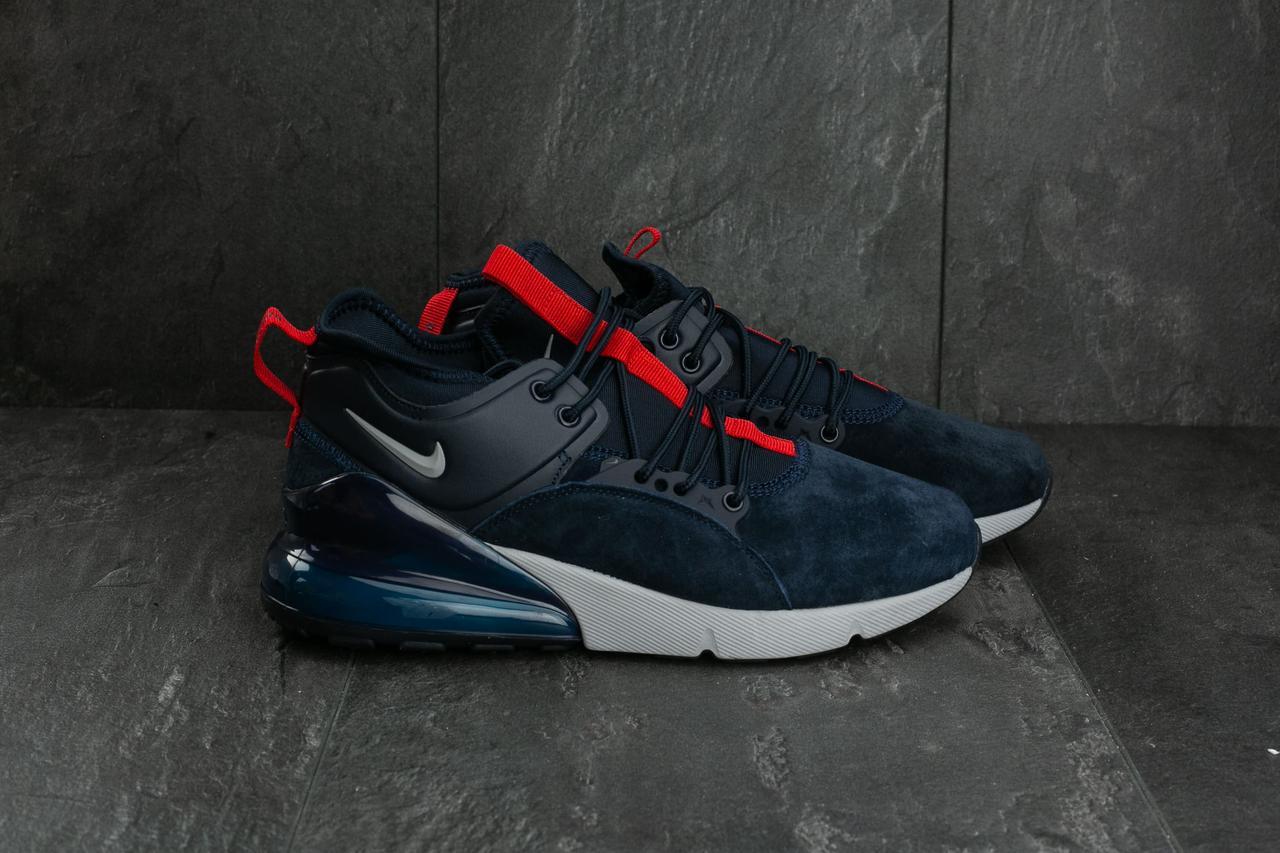ff81b79d Стильные мужские кроссовки реплика Nike Air 270 в замше темно-синего цвета  - VAMKNAM в
