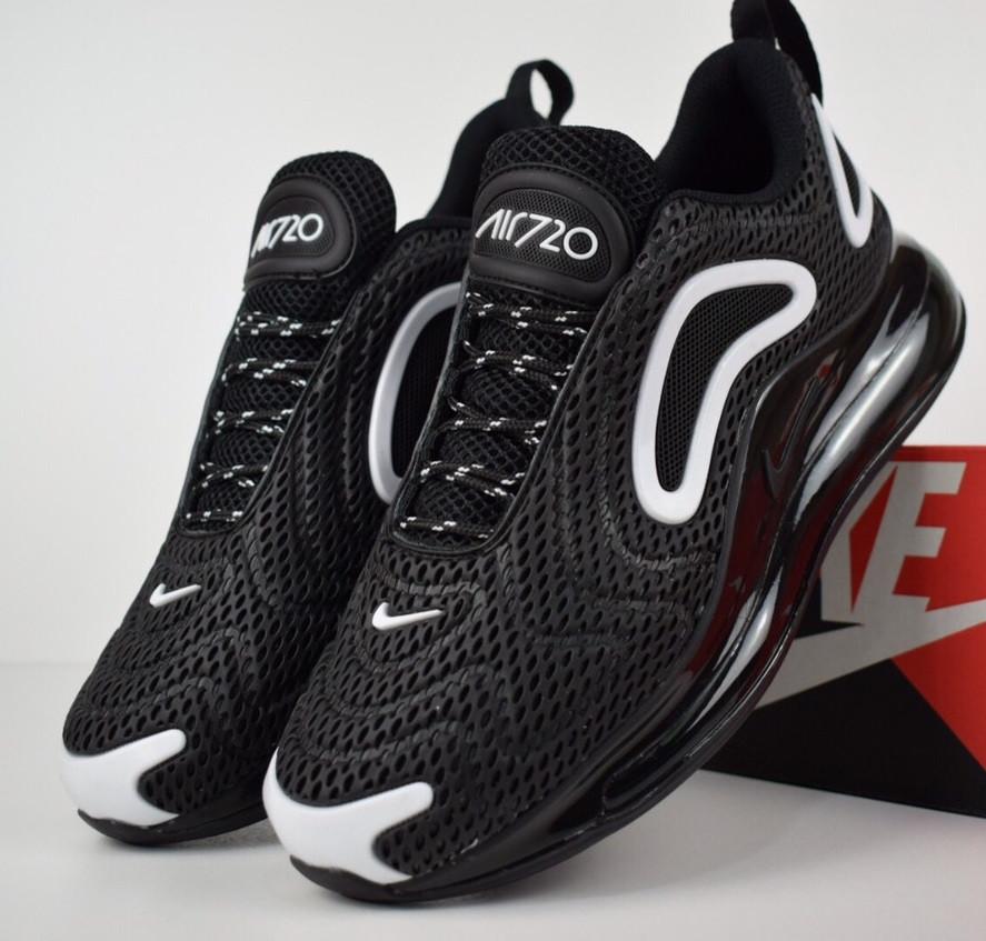 Мужские кроссовки Nike Air Max 720 черные с белым. Живое фото. Топ реплика, фото 1