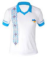 Футболка Поло с вышивкой Украина белого цвета и голубым воротником