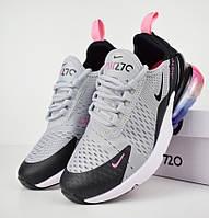 Женские кроссовки в стиле Nike Air Max 270 серые с черным. Живое фото