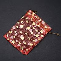 Мешочек из органзы красный с золотыми сердечками 12х10 см