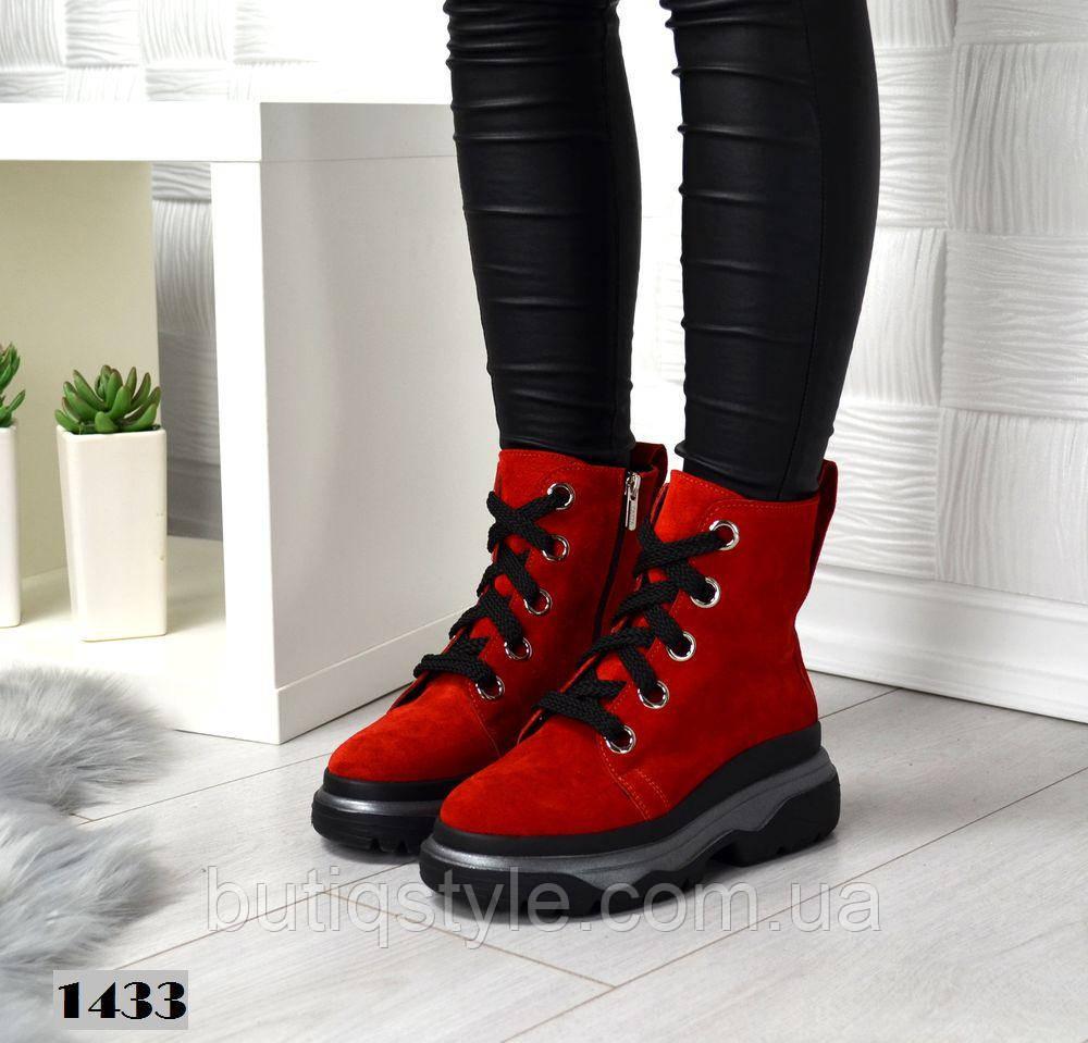 Женские красные ботинки деми на шнуровке, натуральная замша