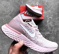 Женские кроссовки Nike Epic React Flyknit Pink. Живое фото. Люкс копия ААА+