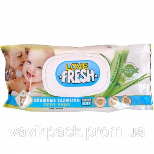 Влажные салфетки для детей «LOVE FRESH» алое вера 72 шт.с клапаном.