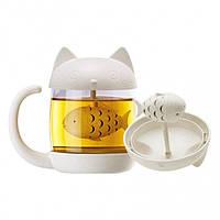 Чашка Котик с заварником рыбкой, Оригинальные чашки и кружки