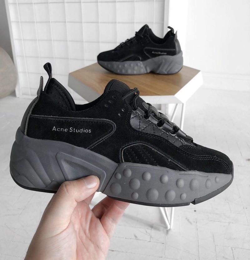 Женские кроссовки Acne Studios Black. Живое фото. Люкс реплика ААА+, фото 1