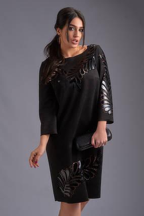 """Замшевое платье прямого кроя """"FERN"""" с карманами (большие размеры), фото 2"""
