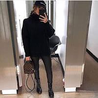 Женский теплый объемный свитер под горло в стиле Zara черный, фото 1