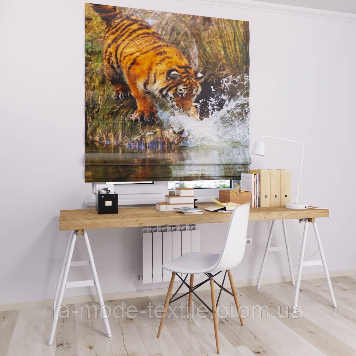 Римская штора с фотопечатью Тигр у реки
