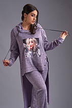 """Женский ангоровый брючный костюм """"SOVA MELANJ"""" с аппликацией (большие размеры), фото 2"""