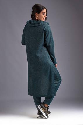"""Женский ангоровый брючный костюм """"GLAMOUR"""" с люрексом и принтом (большие размеры), фото 2"""