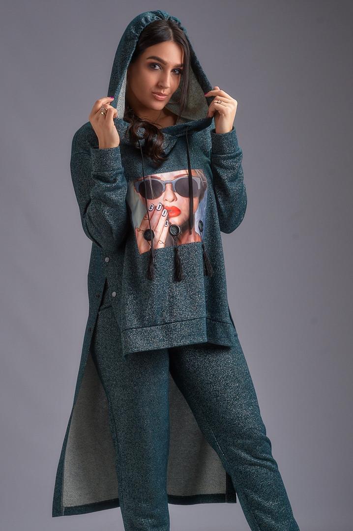 """Женский ангоровый брючный костюм """"GLAMOUR"""" с люрексом и принтом (большие размеры)"""