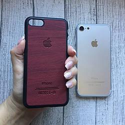 Пластиковый бордовый  чехол под дерево для iPhone 7