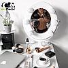Подарок девушке на 14 февраля -Зеркало для макияжа белое, фото 2