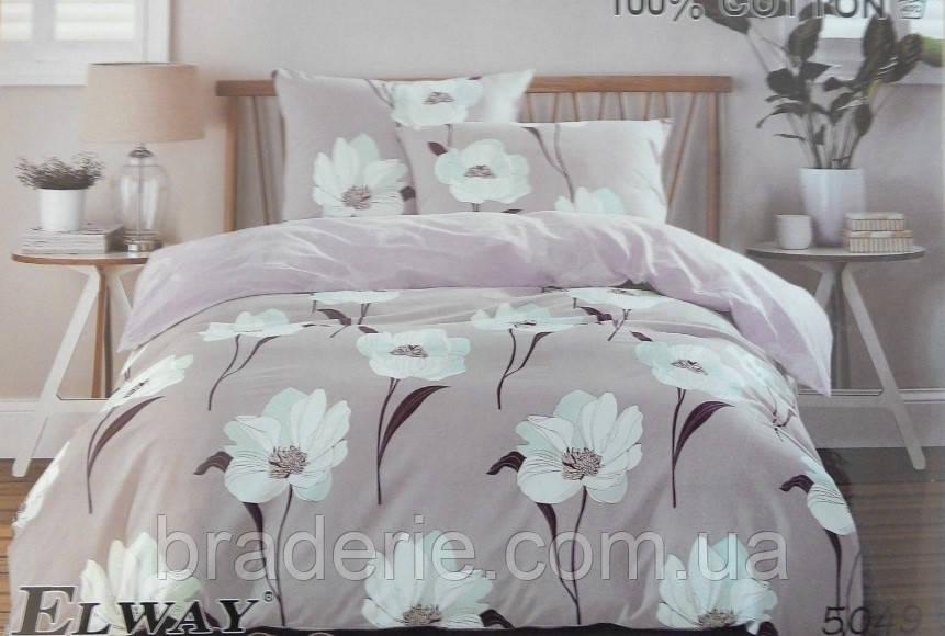 Сатиновое постельное белье евро ELWAY 5049 Белые цветы