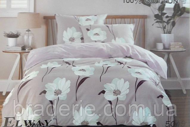 Сатиновое постельное белье евро ELWAY 5049 Белые цветы, фото 2