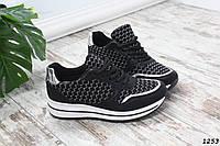 Женские кроссовки черные со шнуровкой эко-кожа+текстиль, фото 1