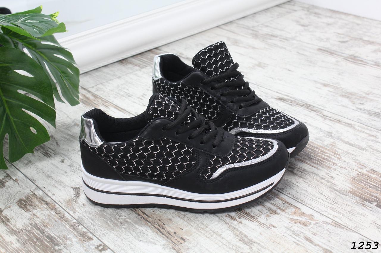 Женские кроссовки черные со шнуровкой эко-кожа+текстиль