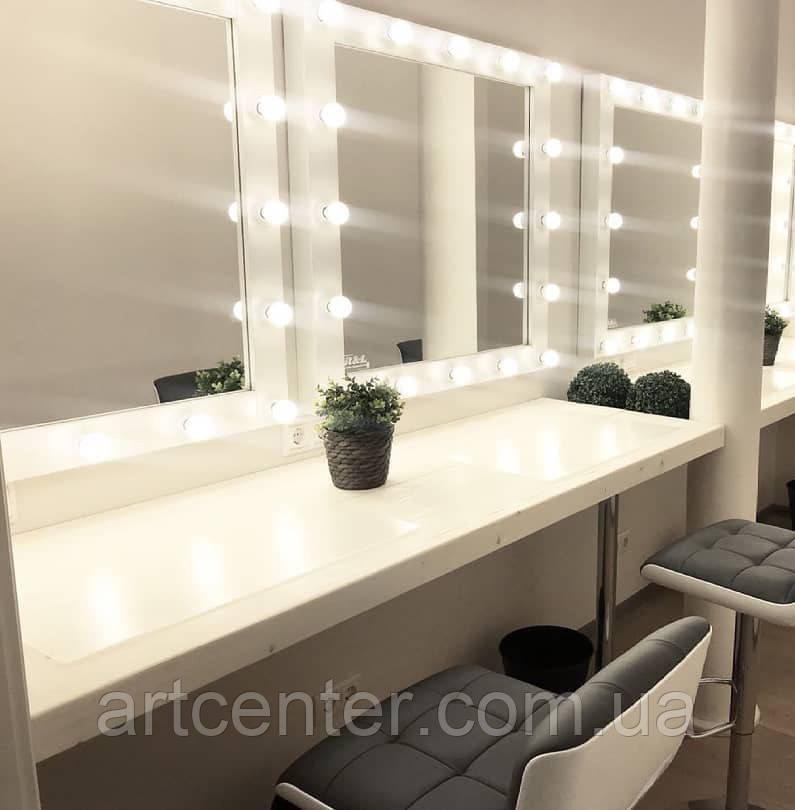 """Стол для визажиста """"Минимализм""""  без ящиков, зеркало с лампочками, стол для двоих визажистов."""