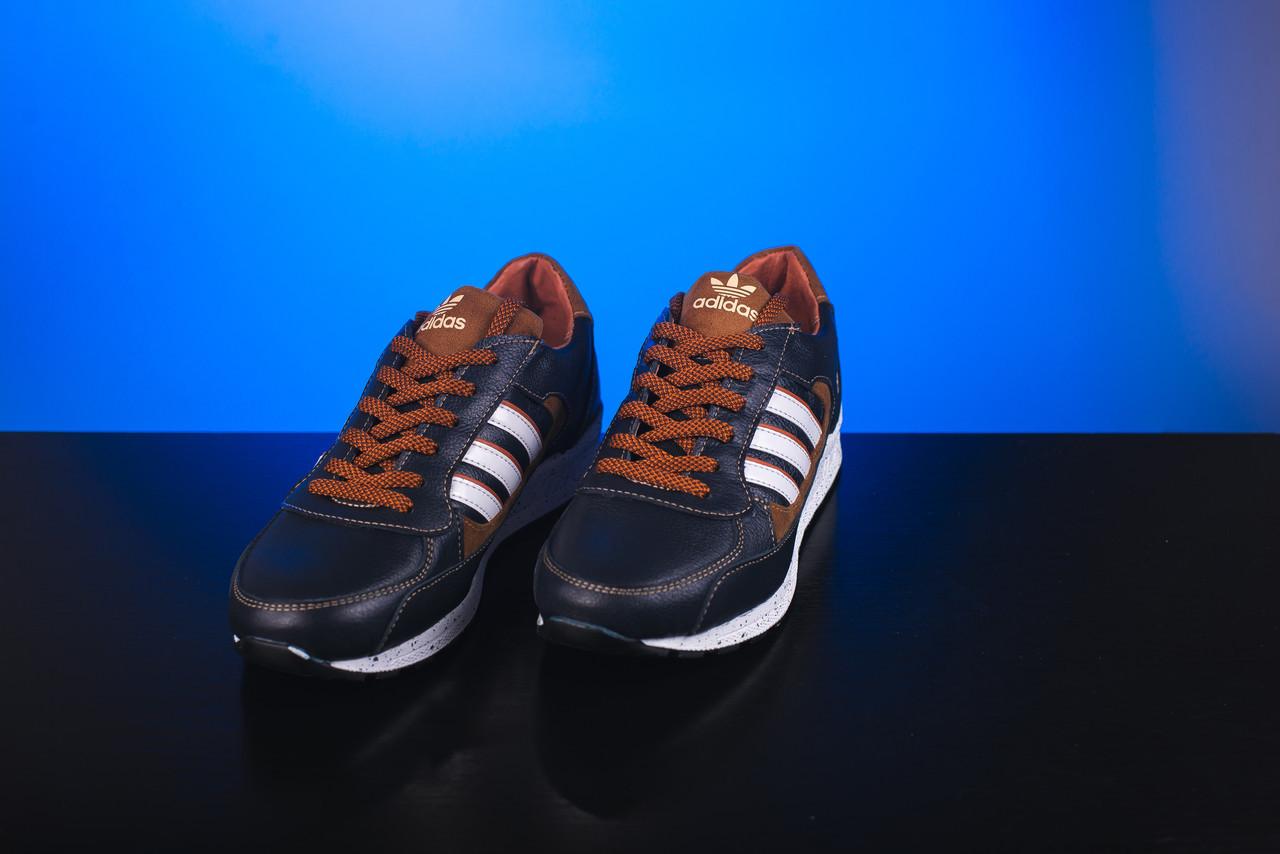 Кроссовки Yuves 85 (Adidas) (весна-осень, подростковые, кожа, сине-коричневый)