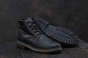 Ботинки Yuves 444 (Clarks) (зима, мужские, кожа, черный-матовый)