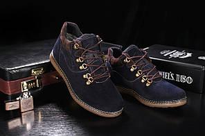 Ботинки Yuves 600 (Clarks) (зима, мужские, замш, синий)