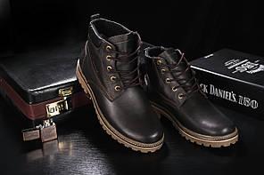 Ботинки Yuves 444 (Clarks) (зима, мужские, кожа, коричневый)