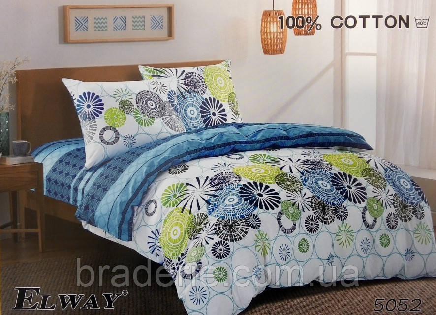 Сатиновое постельное белье евро ELWAY 5052 Цветная абстракция