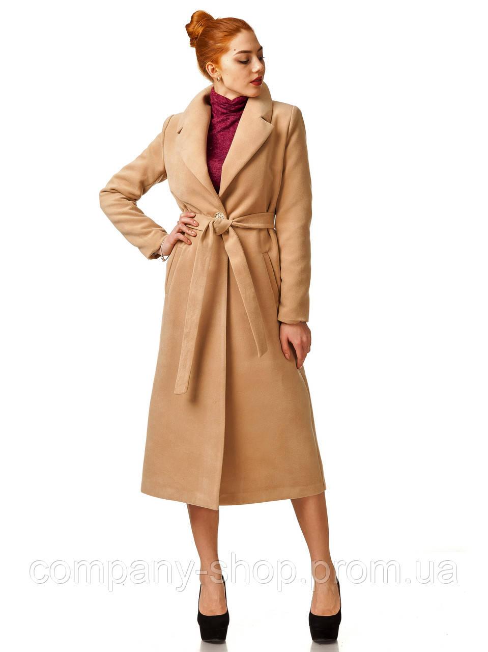 Пальто кашемировое на подкладке оптом. Модель ПЛ003_бежевый