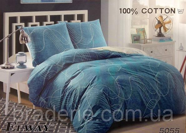 Сатиновое постельное белье евро ELWAY 5055 Тонкие линии, фото 2