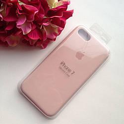 Оригинальный силиконовый бледно-розовый чехол для iPhone 7