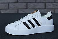 Кроссовки женские Adidas Superstar Bold WHITE BLACK GOLD (реплика А+++ )