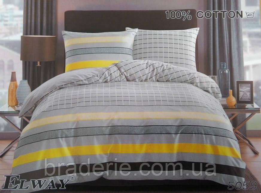 Сатиновое постельное белье евро ELWAY 5059 Геометрия