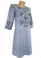 Вышитое платье для девочки подростка в цвете джинс «Дерево жизни»