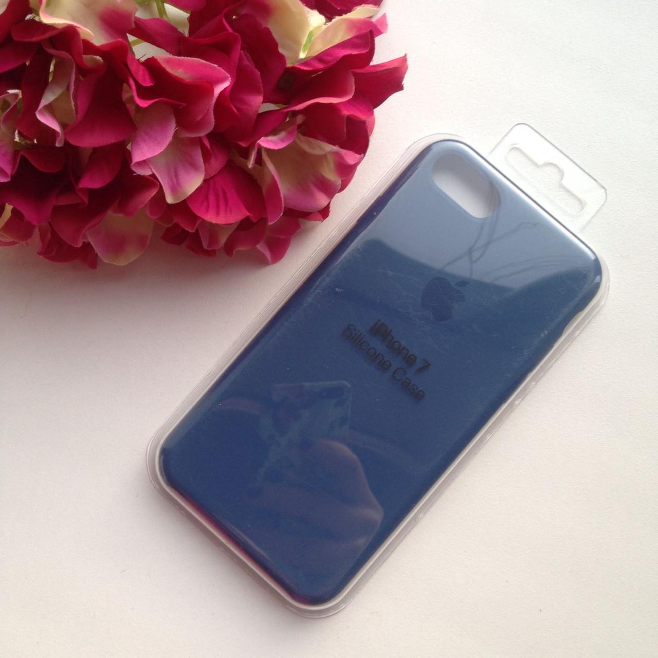Оригинальный силиконовый синий чехол для iPhone 8