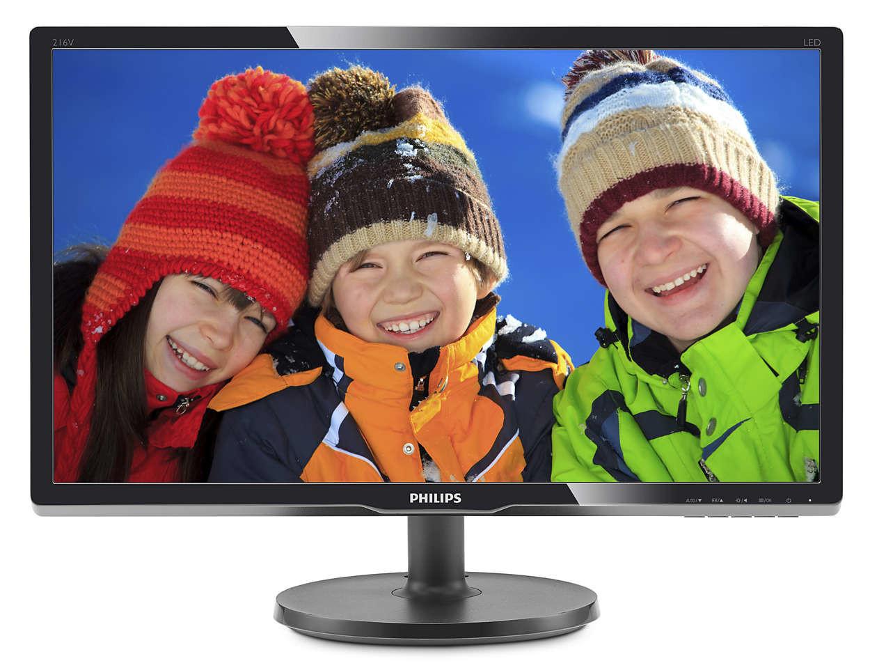 Монитор 20.7' Philips 216V6LSB2/62 Black, WLED, TFT, 1920x1080, 5мс, 250 кд/м2,