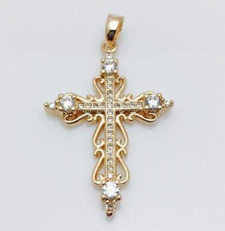 Крест в камнях узор, позолота 18К Fallon