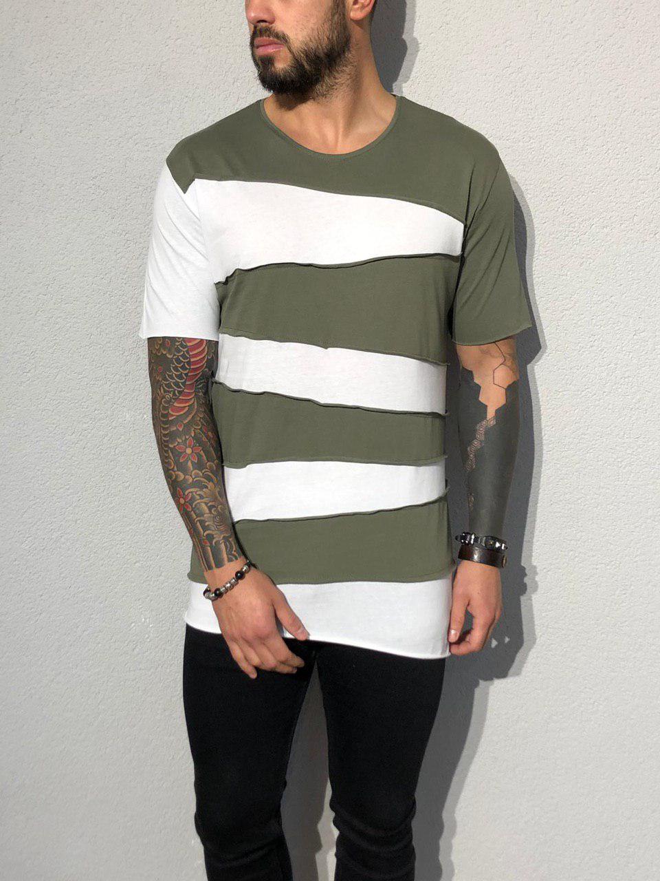 15453dc97542 Мужская футболка бело-оливковая ADA1930, цена 459 грн., купить в ...