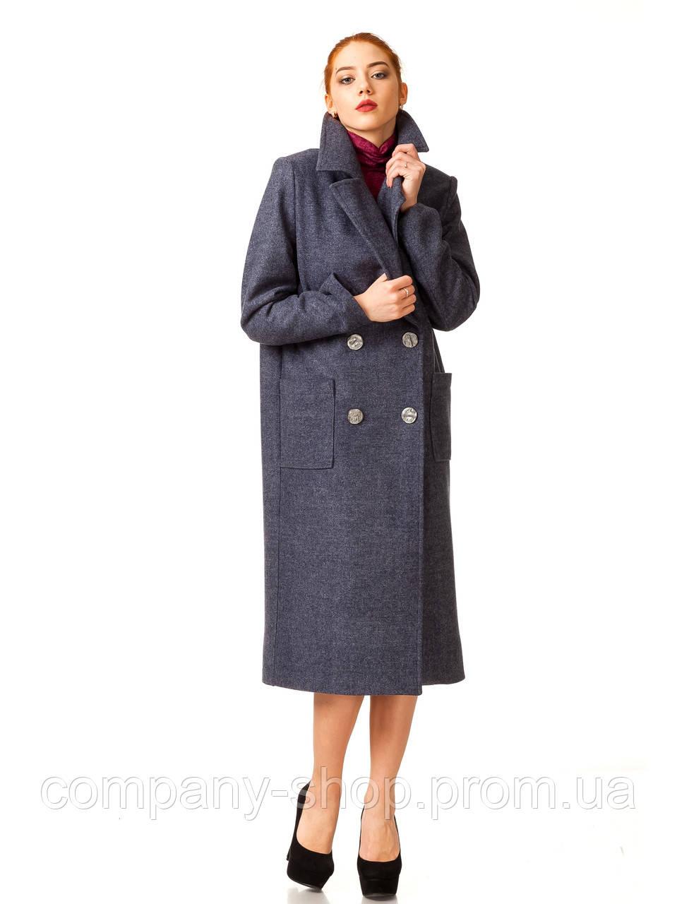 Пальто кашемировое на подкладке оптом. Модель ПЛ005_синий джинс